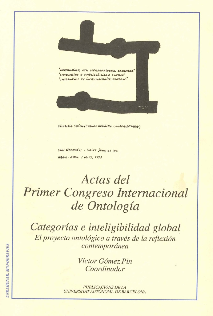 Actas primer congreso internacional de ontologia